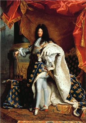 Formal full-length portrait of Louis XIV wearing long curling black wig and state robes including a cloak embroidered with golden fleur de lys.