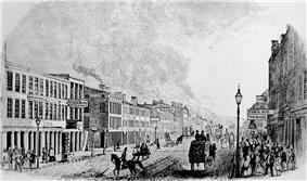 Artist's rendering of Main Street in Louisville as it appeared in 1846