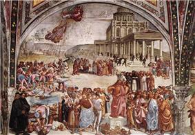 Luca signorelli, cappella di san brizio, predica e punizione dell'anticristo 01.jpg