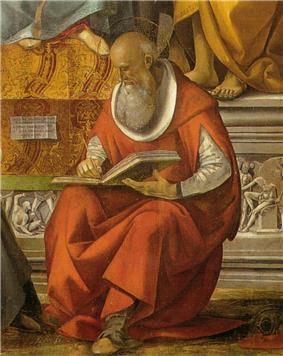 Luca signorelli, vergine in trono e santi, volterra, dettaglio san girolamo.jpg