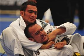 Lucas Leite executing a gi choke on his opponent at the 2009 Pan-American Jiu-Jitsu championship