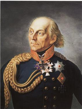 Portrait of an older Ludwig Yorck in a blue uniform with Iron Cross and other decorations