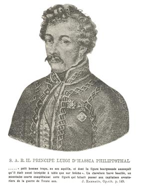 Sepia tone print of a curly-haired man with a moustache. He wears a military coat with an unusual type of braid.