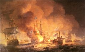 A confused naval battle. Two battered ships drift in the foreground while smoke and flame boil from a third. In the background smoke rises from a confused melee of battling ships.