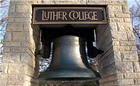 The Luther bell, which stands in front of the Dahl Centennial Union