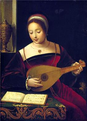 A colour painting of a woman in a red sixteenth century dress playing a lute and looking at a book of music on a covered table, a decorated object can be seen in a window niche in the background.