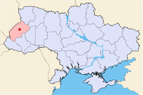 Map of Ukraine (blue) with Lviv (red) highlighted.