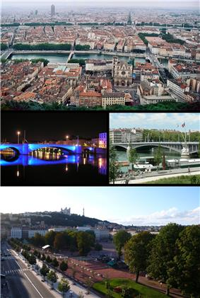 Top, Lyon, with the old city in the foreground. Centre, the Pont Bonaparte, at night, and the Pont Lafayette. Bottom, the Place Bellecour, with the Basilique de Notre-Dame de Fourvière and the Tour Metal in the background.