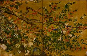 Part of a tree with leaves, red blossoms and white blossoms.