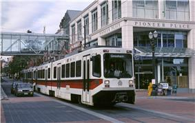 MAX train on Yamhill St with Pioneer Place (1991) - Portland, Oregon