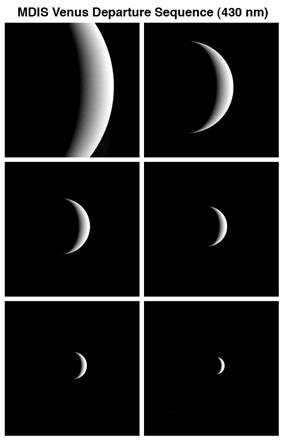 Sequence of images as MESSENGER departs after the second flyby of the planet