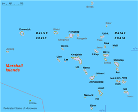 Map of the Marshall Islands showing Bikini
