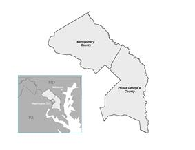 Map of M-NCPPC Region.