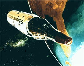 Gemini reentry capsule separates from the orbiting MOL