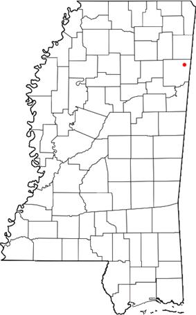 Location of Parham, Mississippi