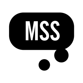 A black thought-bubble design set against a white background, with the letters 'MSS' inside the thought bubble.