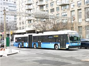 MTA New York City Nova Bus LFS articulated #5851 operates along the M34 Select Bus Service route.
