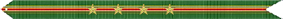 A green streamer with red, gold, and blue horizontal stripes and three stars in the center