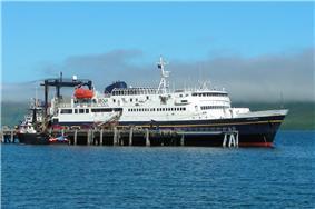M/V Tustumena, docked at the False Pass city port.
