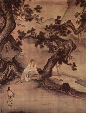 Chinese ink painting depicting a man sitting under a tree