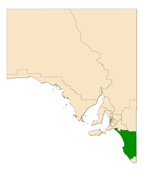 Map of South Australia with electoral district of MacKillop highlighted
