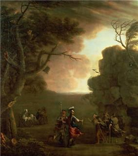 Painting showing men meeting three figures emerging from a cave.