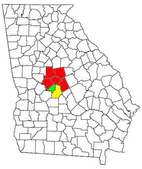 Map of the Macon-Warner Robins-Fort Valley CSA