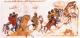 People on horseback riding towards a mountain, the central figure is clad in gold cuirass and crown
