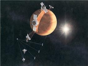 Artistic depiction of the Magellan orbiting cycle.