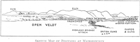 Sketch showing placement of guns and trenches, with hills in the background