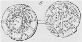 Drawing of both faces of a coin side by side.