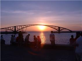 View of Siying Rainbow Bridge and Penghu area in Magong