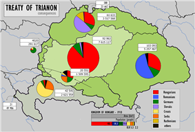 Green-and-grey map with pie charts