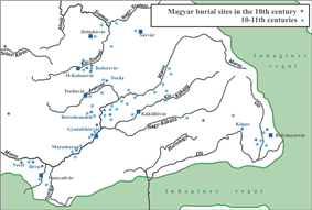 White map of Magyar burial sites