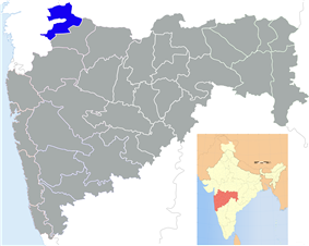 Map of Maharashtra with Nandurbar highlighted in blue