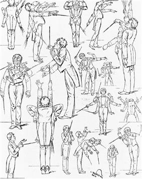 A series of line drawings of a man in exaggerated poses, holding a conductor's baton