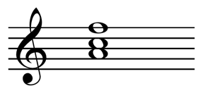 First inversion F major chord: A,C,F.