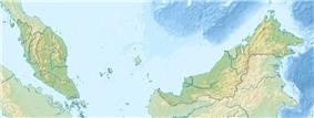 Map showing the location of Taman Negara