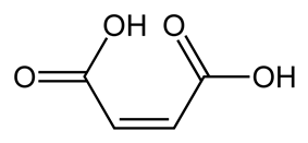 Maleic acid consists of two double-bonded carbon atoms capped on both sides by carboxylic acid groups C O O H; thus, its chemical formula is C O O H C H C H C O O H. It has two ionizable hydrogen atoms and thus two p K As. The central double bond is in the cis configuration. This holds the two carboxylate groups close enough so that when one group is protonated and the other deprotonated, a strong hydrogen bond can be formed between the two groups. This makes the mono-protonated species much more stable than the corresponding species of the trans isomer, fumaric acid.