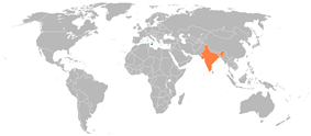 Map indicating locations of Malta and India