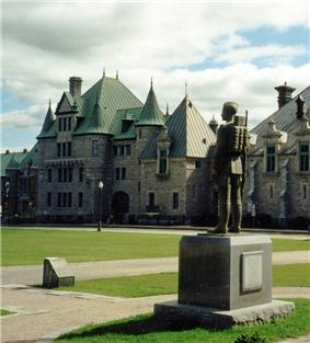 Headquarters and Barracks of Les Voltigeurs de Québec, Quebec City Canada. In the foreground is the Regimental War Memorial.