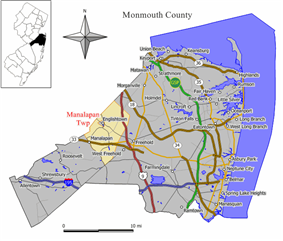 Map of Manalapan Township in Monmouth County. Inset: Location of Monmouth County highlighted in the State of New Jersey.