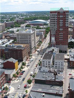 Downtown Manchester looking south along Elm Street