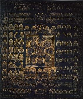 A large number of golden deities arranged in regular fashion on a dark-blue background. The deity in the center is surrounded by eight deities arranged like petals. These nine deities in flower-shape are surrounded by a square.