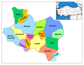 Location of Demirci within Turkey.