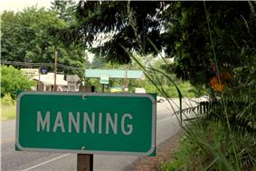 Sign and highway in Manning