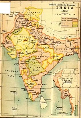 Map of India under the British East India Company, 1857 (Oxford University Press, 1907)