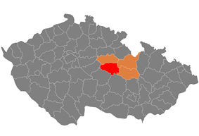 District location in the Pardubice Region within the Czech Republic