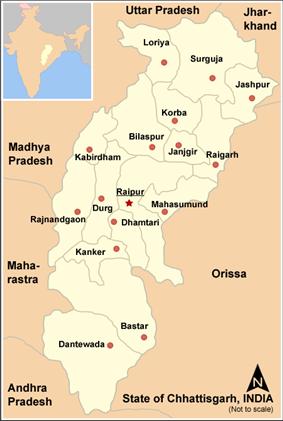 Location of Bijapur district in Chhattisgarh