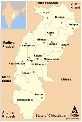 Location of Bastar district in Chhattisgarh